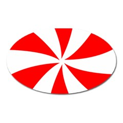 Candy Red White Peppermint Pinwheel Red White Oval Magnet