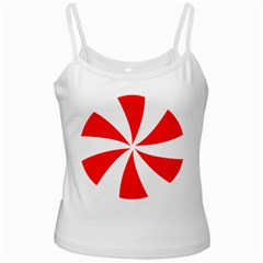 Candy Red White Peppermint Pinwheel Red White Ladies Camisoles