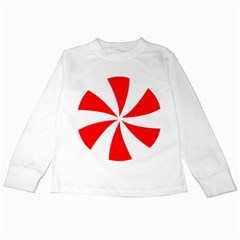 Candy Red White Peppermint Pinwheel Red White Kids Long Sleeve T Shirts by Alisyart