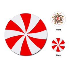 Candy Red White Peppermint Pinwheel Red White Playing Cards (round)  by Alisyart