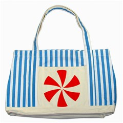 Candy Red White Peppermint Pinwheel Red White Striped Blue Tote Bag by Alisyart