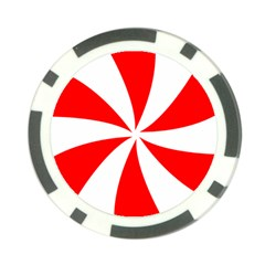 Candy Red White Peppermint Pinwheel Red White Poker Chip Card Guard by Alisyart
