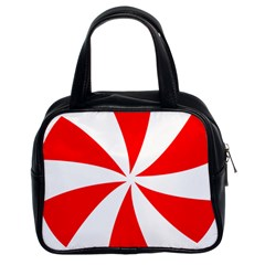 Candy Red White Peppermint Pinwheel Red White Classic Handbags (2 Sides) by Alisyart