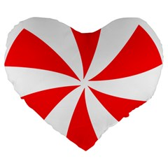 Candy Red White Peppermint Pinwheel Red White Large 19  Premium Heart Shape Cushions