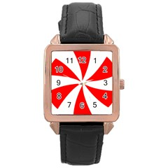 Candy Red White Peppermint Pinwheel Red White Rose Gold Leather Watch  by Alisyart