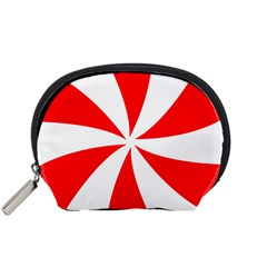 Candy Red White Peppermint Pinwheel Red White Accessory Pouches (small)