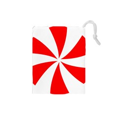 Candy Red White Peppermint Pinwheel Red White Drawstring Pouches (small)  by Alisyart