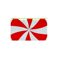 Candy Red White Peppermint Pinwheel Red White Cosmetic Bag (xs)