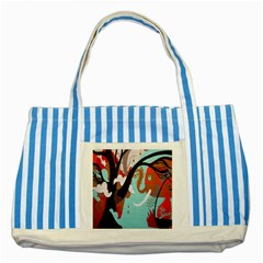 Colorful Graffiti In Amsterdam Striped Blue Tote Bag by Simbadda