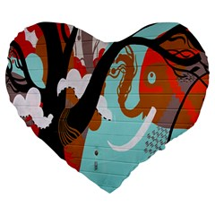Colorful Graffiti In Amsterdam Large 19  Premium Heart Shape Cushions by Simbadda