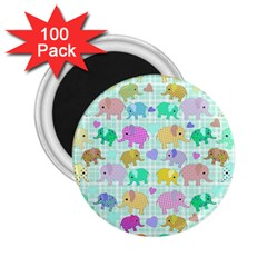 Cute Elephants  2 25  Magnets (100 Pack)  by Valentinaart