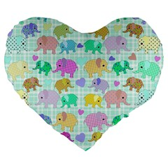 Cute Elephants  Large 19  Premium Heart Shape Cushions by Valentinaart