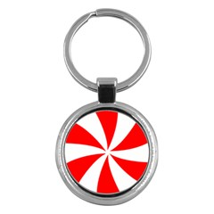 Candy Red White Peppermint Pinwheel Red White Key Chains (round)