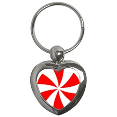 Candy Red White Peppermint Pinwheel Red White Key Chains (heart)  by Alisyart