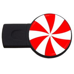 Candy Red White Peppermint Pinwheel Red White Usb Flash Drive Round (4 Gb) by Alisyart