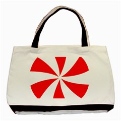 Candy Red White Peppermint Pinwheel Red White Basic Tote Bag (two Sides) by Alisyart