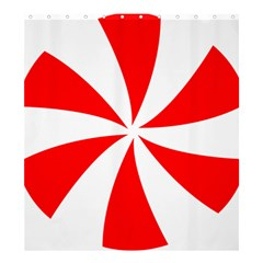 Candy Red White Peppermint Pinwheel Red White Shower Curtain 66  X 72  (large)