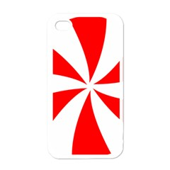 Candy Red White Peppermint Pinwheel Red White Apple Iphone 4 Case (white)