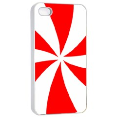 Candy Red White Peppermint Pinwheel Red White Apple Iphone 4/4s Seamless Case (white) by Alisyart