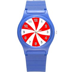 Candy Red White Peppermint Pinwheel Red White Round Plastic Sport Watch (s) by Alisyart