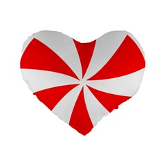 Candy Red White Peppermint Pinwheel Red White Standard 16  Premium Heart Shape Cushions