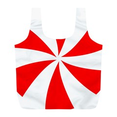 Candy Red White Peppermint Pinwheel Red White Full Print Recycle Bags (l)