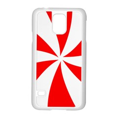 Candy Red White Peppermint Pinwheel Red White Samsung Galaxy S5 Case (white)