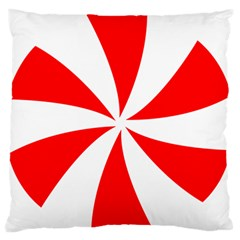 Candy Red White Peppermint Pinwheel Red White Large Flano Cushion Case (two Sides) by Alisyart
