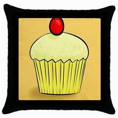 Cake Bread Pie Cerry Throw Pillow Case (black) by Alisyart