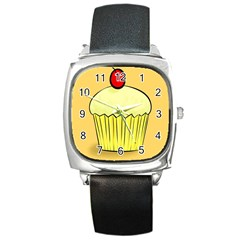 Cake Bread Pie Cerry Square Metal Watch by Alisyart