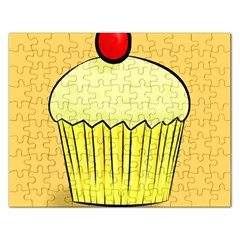 Cake Bread Pie Cerry Rectangular Jigsaw Puzzl by Alisyart