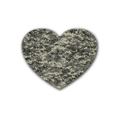 Us Army Digital Camouflage Pattern Rubber Coaster (heart)  by Simbadda
