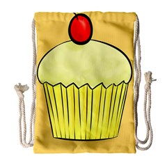 Cake Bread Pie Cerry Drawstring Bag (large) by Alisyart