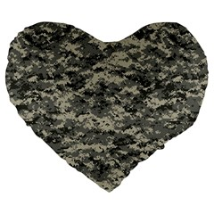 Us Army Digital Camouflage Pattern Large 19  Premium Flano Heart Shape Cushions by Simbadda