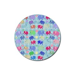 Cute Elephants  Rubber Round Coaster (4 Pack)  by Valentinaart