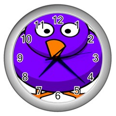 Cartoon Bird Purple Wall Clocks (silver)  by Alisyart
