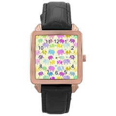 Cute Elephants  Rose Gold Leather Watch