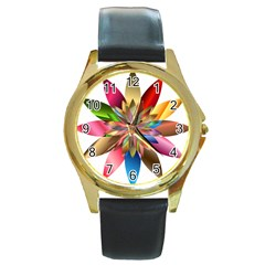 Chromatic Flower Gold Rainbow Round Gold Metal Watch by Alisyart