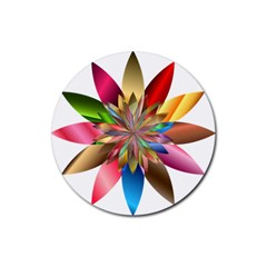 Chromatic Flower Gold Rainbow Rubber Coaster (round)  by Alisyart