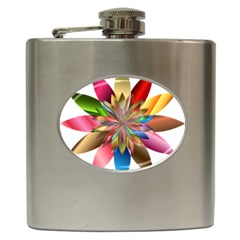 Chromatic Flower Gold Rainbow Hip Flask (6 Oz) by Alisyart