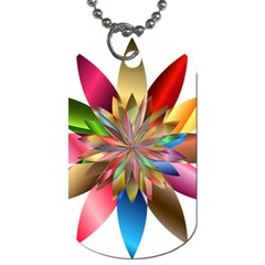 Chromatic Flower Gold Rainbow Dog Tag (two Sides) by Alisyart