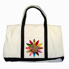 Chromatic Flower Gold Rainbow Two Tone Tote Bag by Alisyart