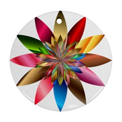 Chromatic Flower Gold Rainbow Round Ornament (two Sides) by Alisyart