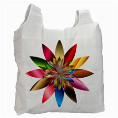 Chromatic Flower Gold Rainbow Recycle Bag (one Side) by Alisyart