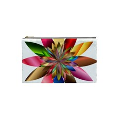 Chromatic Flower Gold Rainbow Cosmetic Bag (small)  by Alisyart