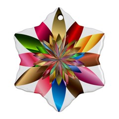 Chromatic Flower Gold Rainbow Ornament (snowflake)