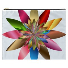 Chromatic Flower Gold Rainbow Cosmetic Bag (xxxl)