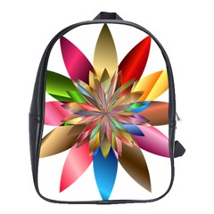 Chromatic Flower Gold Rainbow School Bags (xl)  by Alisyart