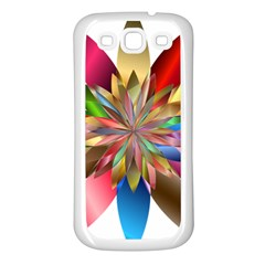 Chromatic Flower Gold Rainbow Samsung Galaxy S3 Back Case (white)