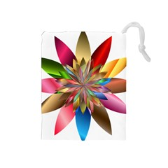 Chromatic Flower Gold Rainbow Drawstring Pouches (medium)  by Alisyart